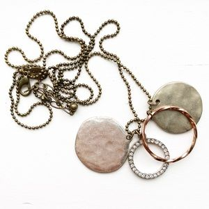 Long boho hammered disc & hoop pendant necklace